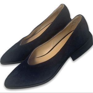 Frank & Oak Navy Suede Square Heel Flat Shoes